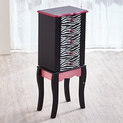Teamson Kids – Fashion Prints Kids Jewelry Chest Armoire – Zebra (Pink / Black)