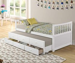 Rhomtree Storage Twin Daybed with Trundle and 3 Storage Drawers Platform Bed Frame with Headboar ...