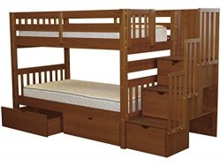 Bedz King Stairway Bunk Beds Twin over Twin with 3 Drawers in the Steps and 2 Under Bed Drawers, ...