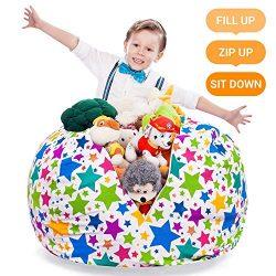 Stuffed Animal Storage Bean Bag – Large Beanbag Chairs for Kids – 90+ Plush Toys Hol ...