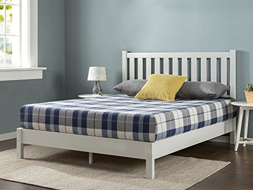 Zinus Wen Deluxe Wood Platform Bed with Slatted Headboard / No Box Spring Needed / Wood Slat Sup ...