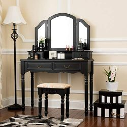 Fineboard FB-VT06-BKV Elegant Vanity Set Makeup Dressing Table with 3 Mirrors and Stool, 4 Drawe ...