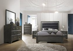 Kings Brand Furniture – 6-Piece Gray Wood with Faux Leather Headboard Queen Bedroom Set. B ...