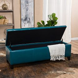 Christopher Knight Home 296848 Living Skyler Teal Leather Storage Ottoman, 17. 50D x 51. 25W x 1 ...