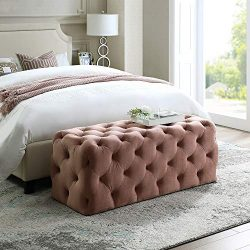 Inspired Home Blush Velvet Bench – Design: Hayden | Allover Tufted | Modern & Contempo ...