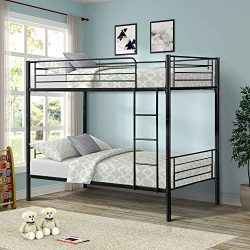 Merax Twin Over Twin Metal Bunk Bed (Black.)
