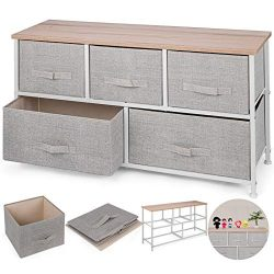 Happybuy 5-Drawer Storage Organizer Unit with Fabric Bins Bedroom Play Room Entryway Hallway Clo ...