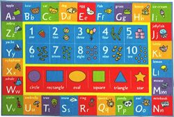 Kev & Cooper Playtime Collection ABC, Numbers and Shapes Educational Area Rug – 3̵ ...
