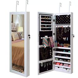 Jewelry Cabinet Armoire Mirrored Jewelry Armoire Lockable Wall/Door Mounted Jewelry Storage Orga ...