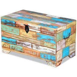 Fesnight Reclaimed Wood Storage Chest Lockable Wooden Storage Box Trunk Cabinet with Handles for ...