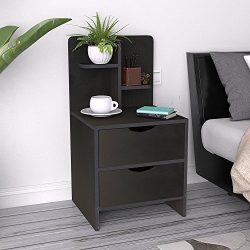 DlandFurniture Bedside Table with Drawer and Shelf Storage Nightstand Table Side Table end Table ...