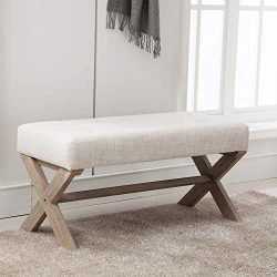 Upholstered Bed Benches, Fabric Buttoned Entryway Bench Ottoman with X-Shaped Rubber Wood Legs f ...