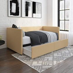 DHP Daybed with Storage Drawers, Tan Linen, Twin