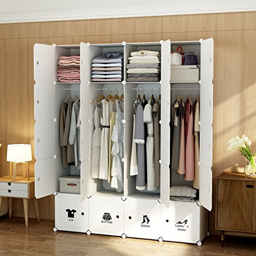 MAGINELS Wardrobe Clothes Closet Bedroom Armoire Dresser Cube Storage Organizer Portable,30% D ...