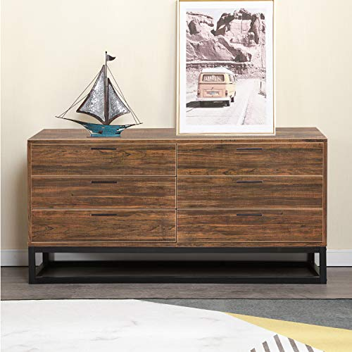 Soges Premuim Standing Storage Cabinet with 6 Drawers, Wood Dressers Drawer Chest Cabinet Consol ...