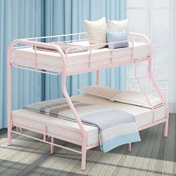 LAGRIMA Twin Over Full Metal Sturdy Bunk Bed Frame, with Inclined Ladder, Safety Rails for Kids  ...