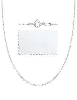ASHINE Sterling Silver Chain Necklace for Women Men 0.8mm Box Chain Spring Ring Clasp 18 Inches