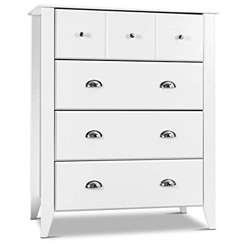 Giantex Bedroom Chest Drawer Dresser Accent Armoires 4 Drawers Metal Handle Home Stylish Furnitu ...