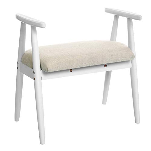 VASAGLE Shoe Bench, Upholstered Vanity Stool with Armrests, Solid Rubberwood Frame, Load Capacit ...