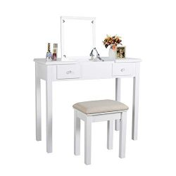AILEEKISS Vanity Set with Flip Top Mirror Makeup Dressing Table Removable Makeup Table Organizat ...
