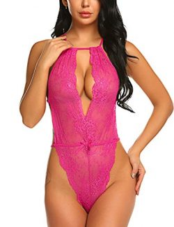 Avidlove Lingerie for Women Lace Teddy One Piece Babydoll Bodysuit Rose Red Small