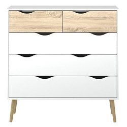 Tvilum 7545649ak Diana 5 Drawer Chest, White/Oak Structure