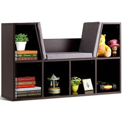 Costzon 6-Cubby Kids Bookcase w/Cushioned Reading Nook, Multi-Purpose Storage Organizer Cabinet  ...