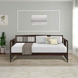 Wood Daybed Frame Twin Size with Rails, Full Wooden Slats Support Modern Daybed Twin (Espresso)