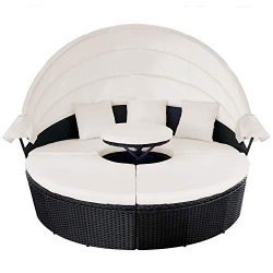 M&W Outdoor Funiture Round Patio Daybed with Retractable Canopy, PE Wicker Rattan Sofa Set w ...
