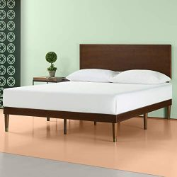 Zinus Deluxe Mid-Century Wood Platform Bed with Adjustable height Headboard, no Box Spring neede ...