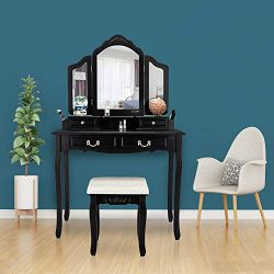 FCH Vanity Table Set Tri-Folding Oblong Mirror & Cushioned Stool, Wood Vanity Makeup Dressin ...