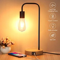 Touch Control Table Lamp, USB Desk Lamp, 3 Way Dimmable Modern Nightstand Lamp with Two USB Char ...