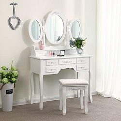 Makeup Vanity Table Set, Trifold Mirrors Dressing Table with Cushioned Stool &7 Drawers Stor ...