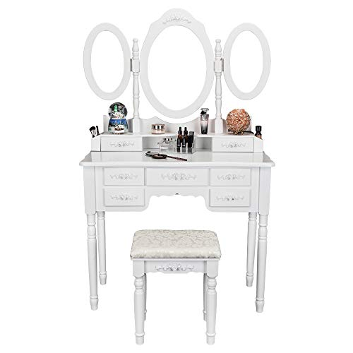 Bonnlo 7 Drawers Vanity Table Set for Girls Tri-Folding Mirrors Makeup Vanity Table with Cushion ...