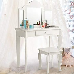 Costzon Kids Wooden Vanity Table & Stool Set, 2 in 1 Detachable Design with Dressing Dable a ...