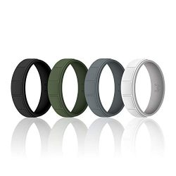 WIGERLON Mens Silicone Wedding Ring &Rubber Wedding Bands Width 8.7mm Pack of 4 Size 10