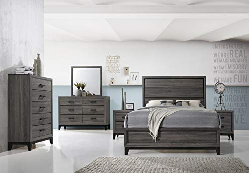 Kings Brand Furniture – Ambroise 6-Piece King Size Bedroom Set, Grey/Black. Bed, Dresser,  ...