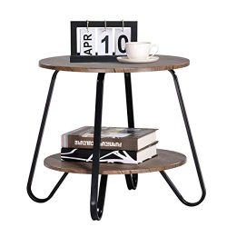 Vintage 2 Tiers Living Room End-Table Modern Industrial Nightstands for Bedroom Round Sofa Side- ...