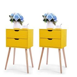 JAXPETY Set of 2 Nightstand 2 Drawers End Table Storage Wood Cabinet Bedroom Accent Side Table ( ...