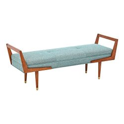Ink+Ivy II105-0090 Boomerang Bedroom Bench – Solid Wood, Polyester Fabric, Button Tufted D ...