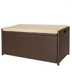 Victoria Young Resin Wicker Deck Box Storage Bench Container with Seat and Cushion Indoor and Ou ...