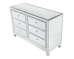 Decor Central ADMFX7-6051 Drawers and Rectangle Mirror Top Dresser, 48″, Antique Silver Pa ...