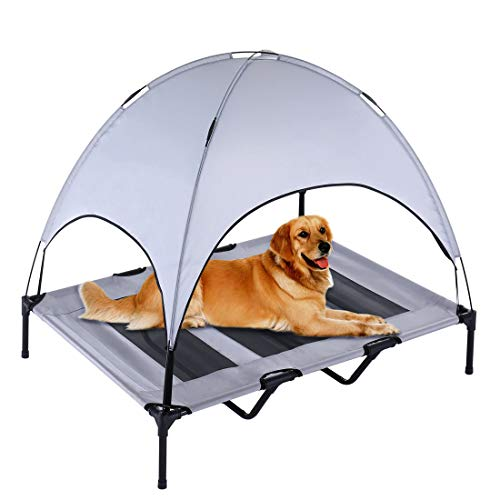 SUPERJARE XLarge Outdoor Dog Bed | Elevated Pet Cot with Canopy | Portable for Camping or Beach  ...