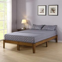 Olee Sleep VC14SF03Q Smart Wood Platform Bed Frame, Queen, Light Brown