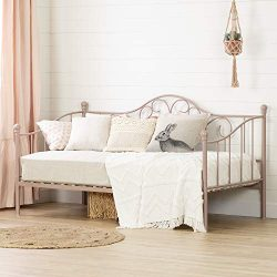 South Shore 12165 Lily Rose Twin Metal Daybed (39″), Pink Blush