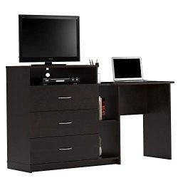 Ameriwood Home 9866012COM Rebel Media Dresser and Desk, Espresso