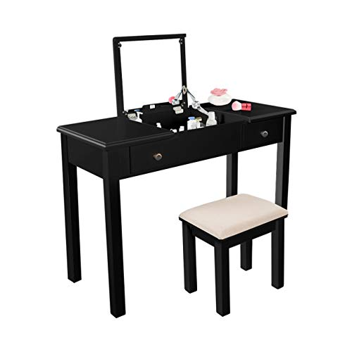 AODAILIHB Vanity Table with Flip Top Mirror Makeup Dressing Table Writing Desk with Cushioning M ...