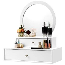 CHARMAID 2-in-1 Vanity Mirror with 2 Removable Drawers, Vanity Mirror Wall Mount or Placed on th ...
