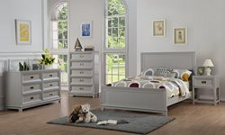 InRoom Furniture Designs Grey Finish Wood 4-Piece Full Size Bedroom Set