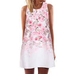 Dressin Vintage Boho Beach Dress, Women Ladies Loose Summer Sleeveless 3D Floral Print Bohe Tank ...